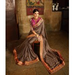 Brown Shimmer Jacquard Embroidered Designer Saree