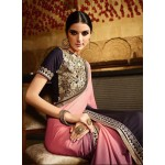 Pink Georgette Embroidered Designer Saree