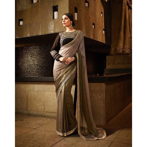 Gray Shimmer Georgette Embroidered Designer Saree