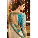 Beige Georgette Embroidered Designer Saree