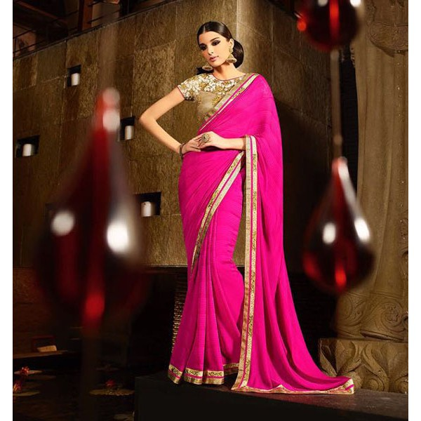 Hot Pink Georgette Embroidered Designer Saree