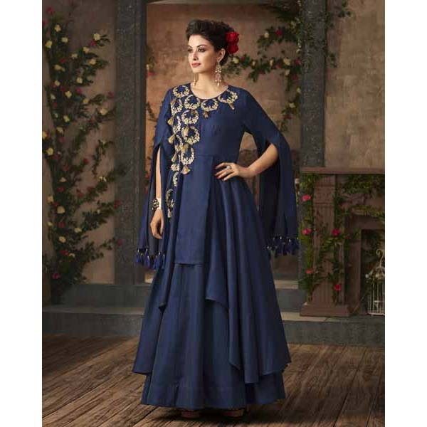 Readymade Royal Blue Satin Designer Gown