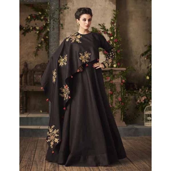 Readymade Brown Satin Designer Gown