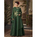 Readymade Green Satin Designer Gown