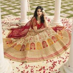 Divine Red And Cream Satin Silk Festive Wear Designer Lehenga