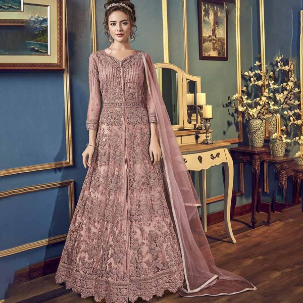 Adorable Dusty Pink Net Designer Anarkali Suit